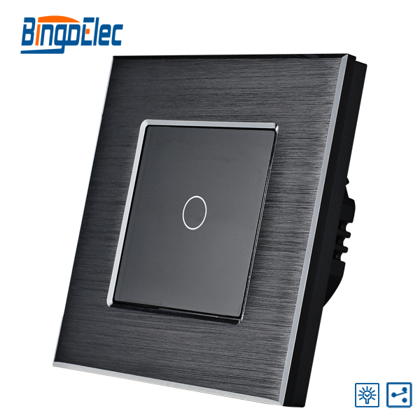 EU/UK 1gang 2way touch switch with dimmer function,black aluminum and glass panel switch,  AC110-240V,Hot Sale 1gang 1way touch remote dimmer switch glass panel touch dimmer light switch eu uk standard ac110 240v hot sale