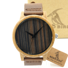 BOBO BIRD A23 Bamboo Wooden Watch Brand Designer Soft Leather Band Wooden Dial Face Japan 2035 Quartz Watch Lovers OEM Customize