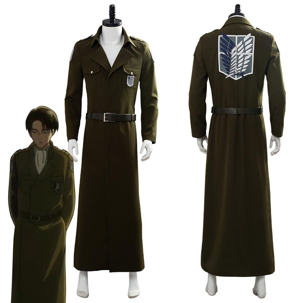 Attack on Titan Season 3 Eren Jaeger Cosplay Costume Scouting Legion Soldier Officer Trench Coat Halloween Carnival Costume image
