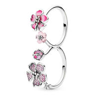 2019 New Women 925 Silver Rings Jewelry With Epoxy Peach Double Ring Crystal Ring For Women Jewelry
