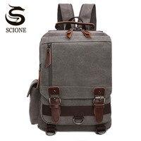 Scione Small Canvas Backpack Men Travel Back Pack Multifunctional Shoulder Bag Women Laptop Rucksack School Bags