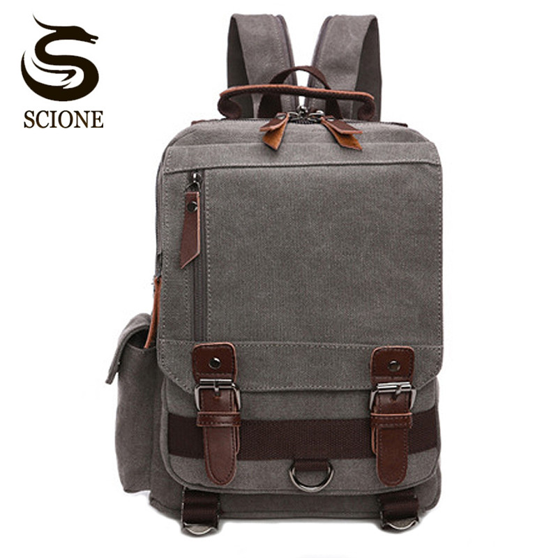 Scione Small Canvas Backpack Men Travel Back Pack Multifunctional Shoulder Bag Women Laptop Rucksack School Bags Female Daypack men s black soft cowhide back pack multifunctional genuine cow leather12 9 inches laptop rucksack male schooltravel shoulder bag