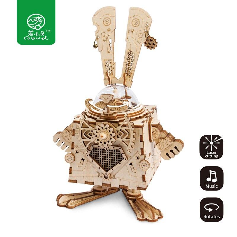 Robud Punk A Vapore Modello di Coniglio con Music Box di Legno di Costruzione FAI DA TE 3D di Legno Di Puzzle Regalo per I Ragazzi e Le Ragazze AM481 per Dropshipping