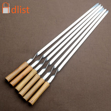 """55cm 21.5"""" BBQ Skewers Long Handle Shish Kebab Barbecue Grill Stick Wood BBQ Fork Stainless steel Outdoors Grill Needle 6/10pcs"""