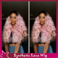 Sweet Beauty Long Pink Wavy Ombre Natural Wigs #1B/Pink Hair Synthetic Lace Front Wig Heat Resistant Fiber Hair For Black Women