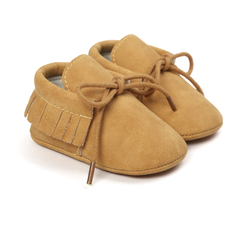 Newborn baby moccasins Leisure PU Leather First Walkers Crib Babe Star Pattern Handsome Retro Baby Shoes