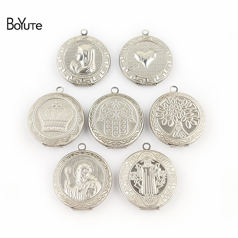 BoYuTe New Arrive Stainless Steel Jewelry Pendant Round 31MM Memory Locket Photo Locket Pendant (3)