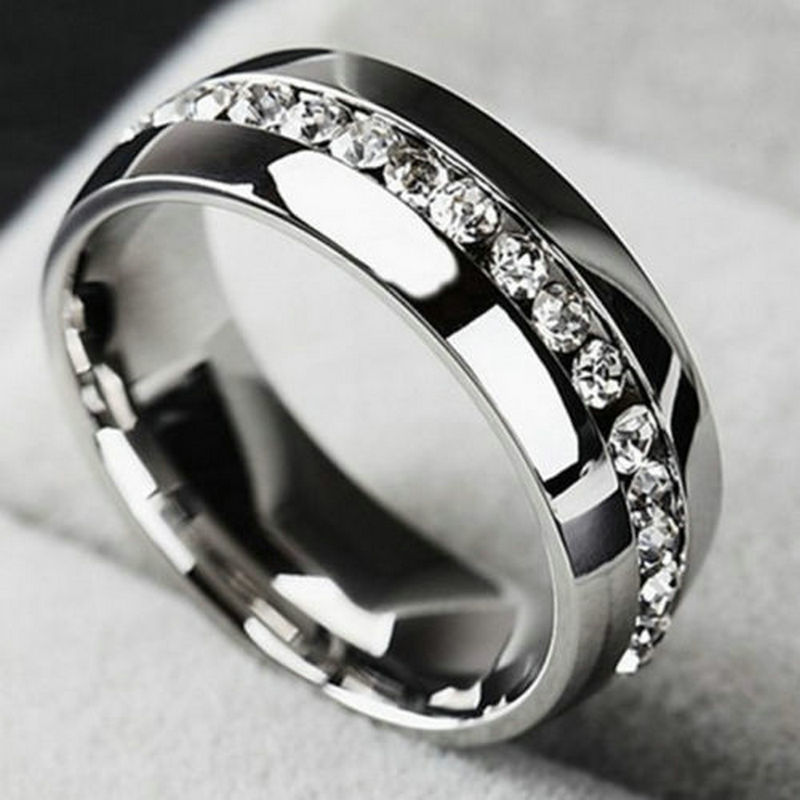 Men women cz couple stainless steel wedding ring titanium for Cz wedding rings for women