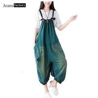 Jumpsuit Women Printed Denim Hole Jeans Vintage Cotton Wide Leg Pant Female Drop Crotch Rompers Plus Size Solid color kombinezon