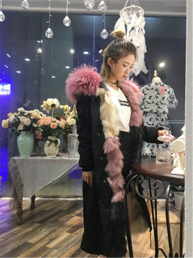 2017 Women fox fur parka coat with hood detachable genuine fur icecream lining The Super Long Style