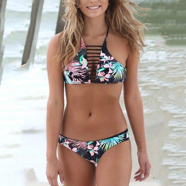 f4b0b4ed8f6561 2017 Sexy High Neck Bikini Women Lovely Split Floral Print Bikini Set  Swimsuit Swimwear Retro Halter Top Summer Beach Wear Suit