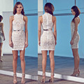 2016 Sexy white pencil lace dresses women for love and lemons Summer bandage  Sleeveless lace dress Insert midi dresses 4383