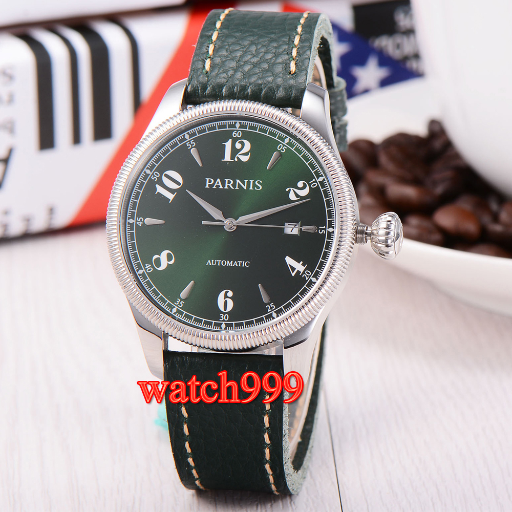 42mm Parnis Sapphire Glass Green Dial Japan Automatic Men's Watch Miyota Sports Green Leather Belt Waterproof Mechanical Watch