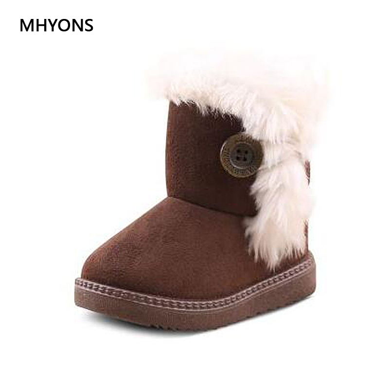 MHYONS 2018 New Baby Children's Shoes Snow Boots Winter Plush Warm Snow Boots Baby Girl Boy 4 Color Martin Boot Size 21-30 A8011