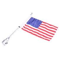 Chrome Motorcycle Rear Side Mount Flag Pole USA America Flag For Harley Luggage Rack