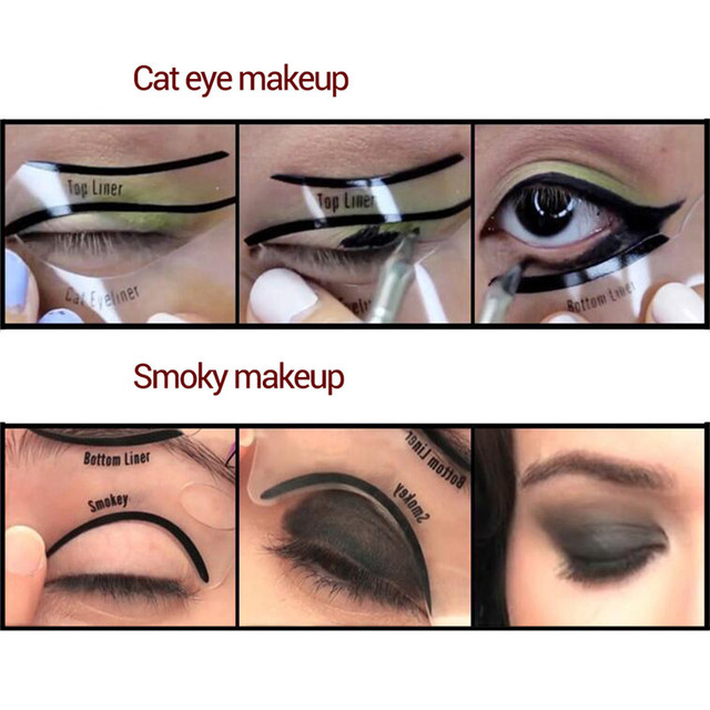 RORASA 1pcs 6 in 1 Stencils Eyeliner Template Smoky Makeup Guide Cat Eye Natural Liner Quick Eyeliner stencil Tool Cosmetic tool 5