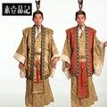 2016 мужчин срок годности прямых продаж танцевальные костюмы хмонг одежды древняя китайская костюм мужской костюм Hanfu традиционный император