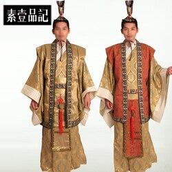 Männer Zeitlich begrenzte Direct Selling Dance Kostüme Hmong Kleidung Alten Chinesischen Kostüm herren Anzug Hanfu Traditionellen Kaiser