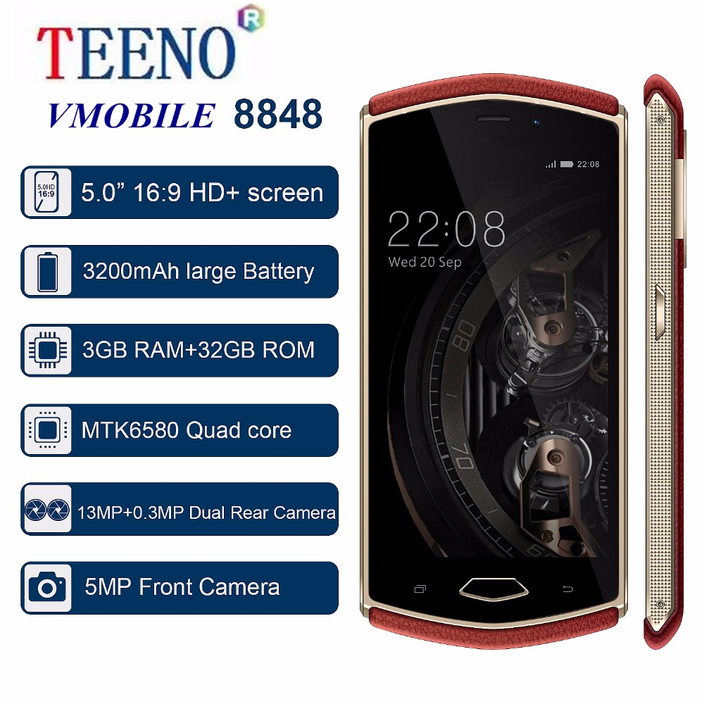 TEENO Vmobile 8848 Mobile phone Unlocked Smartphone Android 7.0 5.0inch HD Screen 3GB RAM 32GB ROM 8MP Daul Camera Cell phone
