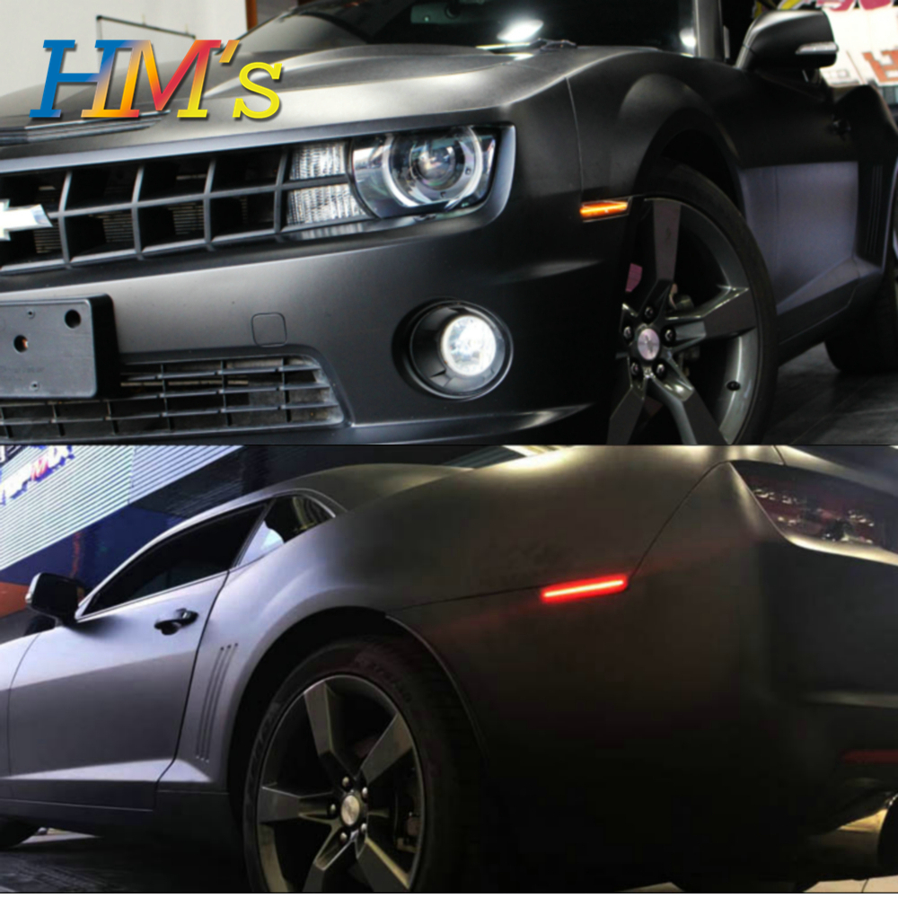 (F+R) For Chevy Camaro 2010 2011 2012 2013 2014 2015 Car Front Amber Rear Red Side Marker Lamps Turn Signals SMD LED Light (6)