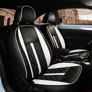Image 2 - (2 przednie + 2 tylne) dostosowane pokrycie siedzenia samochodu wysokiej jakości skórzane pokrycie siedzenia samochodu dla Volkswagen Beetle akcesoria samochodowe stylizacji