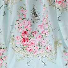 New 160CM Width Light Blue Vintage Rose Floral 100% Twill Cotton Patchwork Fabric Sewing Material