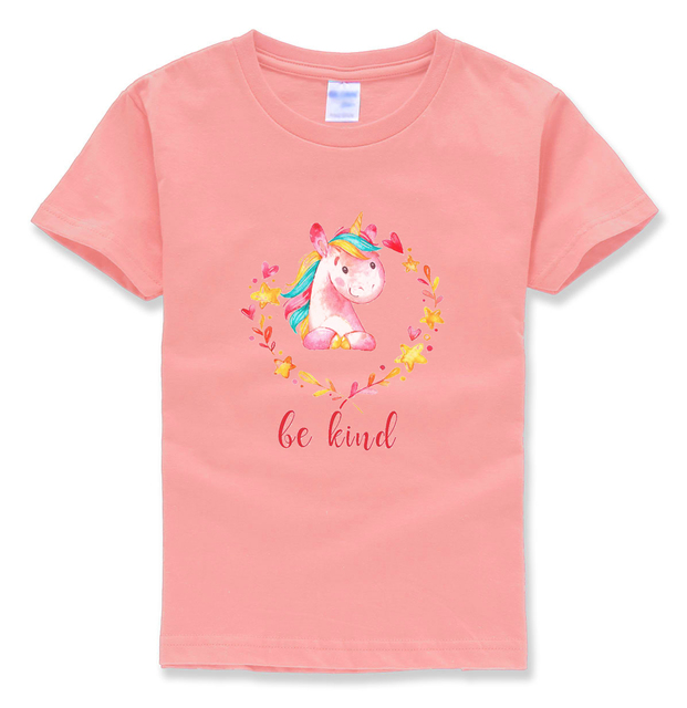 2018 kids short sleeve t shirts different color tops kawaii unicorn tshirt animal harajuku street cute funny shirt children