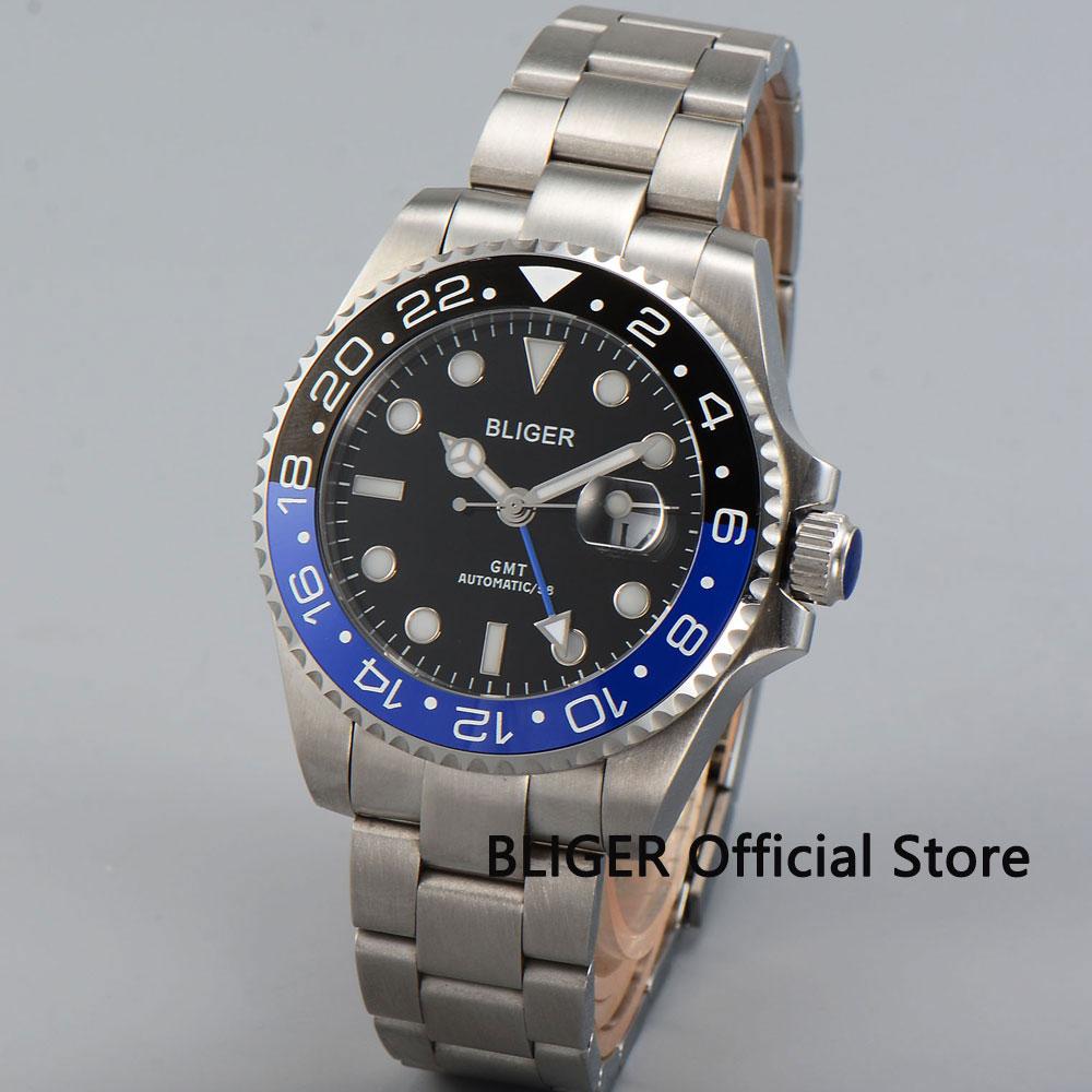BLIGER 43MM Black Dial Blue Black Ceramic Bezel Blue GMT Pointer Sapphire Luminous Marks Automatic Movement Men's Watch B22