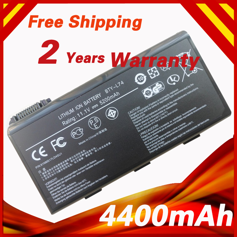 4400mAh Laptop Battery BTY-L74 For MSI BTY-L75 MS-1682 A5000 A6000 A6200 A6203 A7005 A7200 CR500X CR600 CR610 GE700 CR700X 11 1v 9 cells bty l75 bty l74 laptop battery for msi cx600x cr610 cr620 cr700