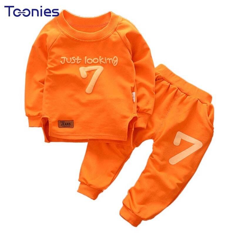 2018 Spring Autumn O-neck Letter Printed Baby Boy Clothes Sweatshirt+ Pants Active Cotton 2pcs Kids Suits Long Sleeved Boy Sets