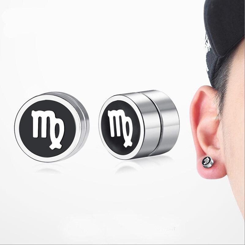 Male Magnetic Ear Clip Stud Earrings Virgo Twelve Constellations Stainless Steel Non Piercing Earings for Men Jewelry Brincos