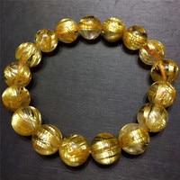 Одежда высшего качества 12 мм натуральные золотые волосы Рутиловый Кварц Браслет круглые Кристальные бусины стрейч богатые подарки на удач