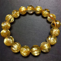 Top Quality 12mm Natural Gold Hair Rutilated Quartz Bracelet Crystal Round Beads Stretch Wealthy Lucky Gift AAAAA Certificate