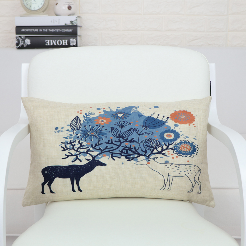 Rectángulo decorativo Inicio Textile ciervo Cojín Funda almohadilla lumbar almohada asiento suave ropa de coche traje cojín almohada 30x50 BO-2