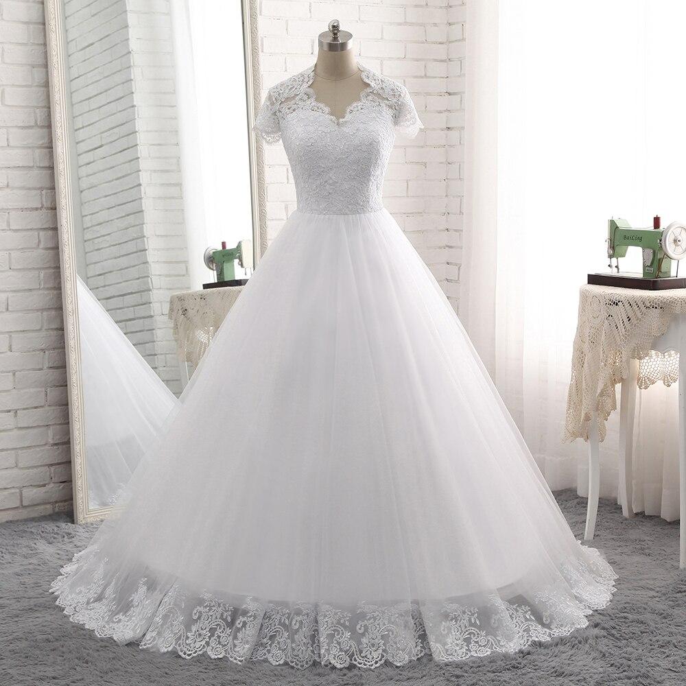Favordea Vestido De Noiva See Through Back Lace Wedding Dress Robe De Mariage Short Sleeves Lace Appliques Bridal Gowns