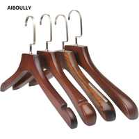 AIBOULLY 5Pcs/set Adult Extra-Wide Solid Wood and Metal Hook Wooden Hangers With Notches Non-slip Metal Hook for Clothes W3122