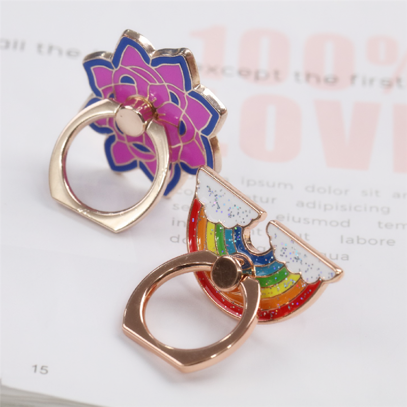 Rainbow Metal Finger Ring Jewelry Smart Phone Stand Holder Flower Mobile Phone Holder Stand For Iphone All Phone