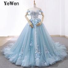 高級王女の花のレースの花嫁のウェディングドレス 2020 ビーズの夜会服ライトブルー色花嫁のドレスエレガントなローブデのみ