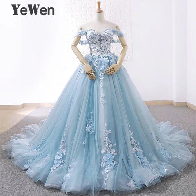 יוקרה נסיכת פרחי תחרה כלה חתונה שמלות 2020 חרוזים כדור שמלת אור כחול צבע הכלה שמלה אלגנטי robe דה mariee