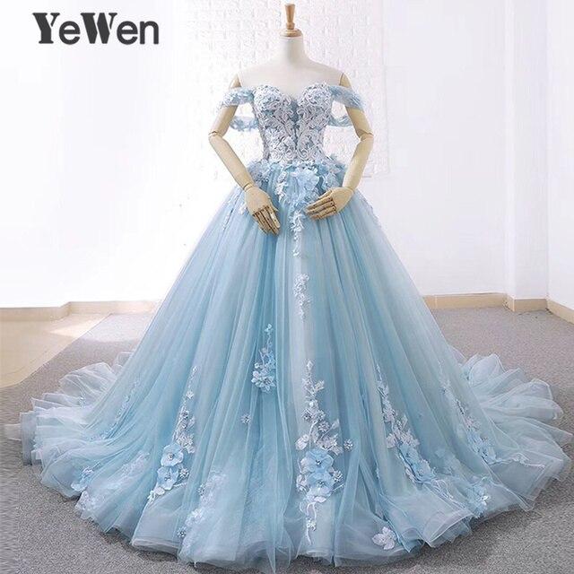 Lüks prenses çiçekler dantel gelin gelinlik 2020 boncuklu balo açık mavi renk gelinlik zarif robe de mariee