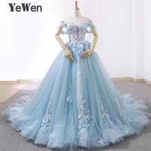 luxury Princess Flowers Lace bridal Wedding dresses 2020 Beaded Ball Gown Light blue color bride dress elegant robe de mariee