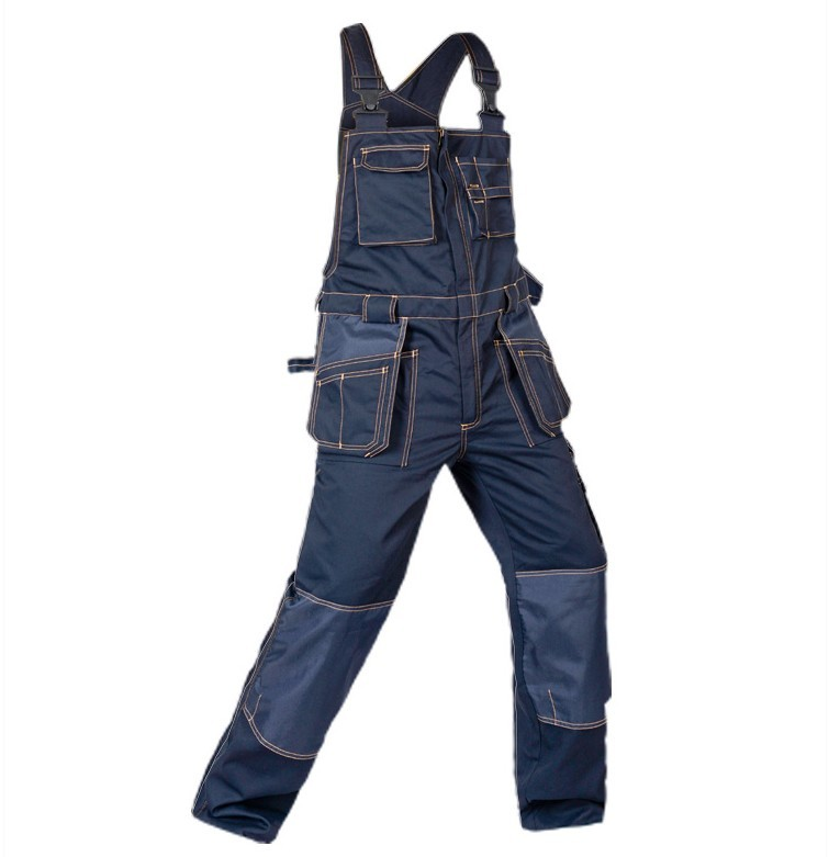 Bauskydd Men's cargo pocket work overall workwear Bib Overalls twill multi pocket working mechanic overalls free shipping 2015 fashion suspenders multi pocket jeans detachable suspenders bib pants holes denim overalls free shipping