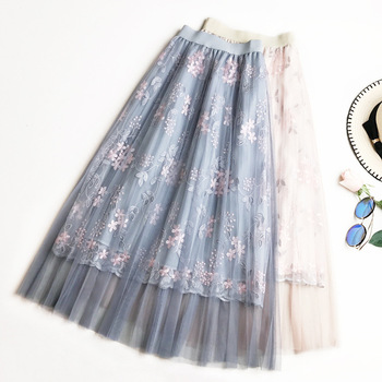 Wasteheart Blue Pink Women Skirts Japan Style High Waist Pleated Embroidery Ankle Length Skirt All-match Chiffon Clothing