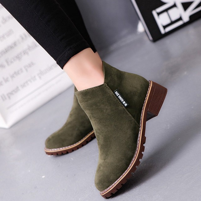 ankle boots ladies Fashion Women Low Ankle Trim Round Toe Ankle Leather  Boots Casual Martin Shoes 64cdea002b