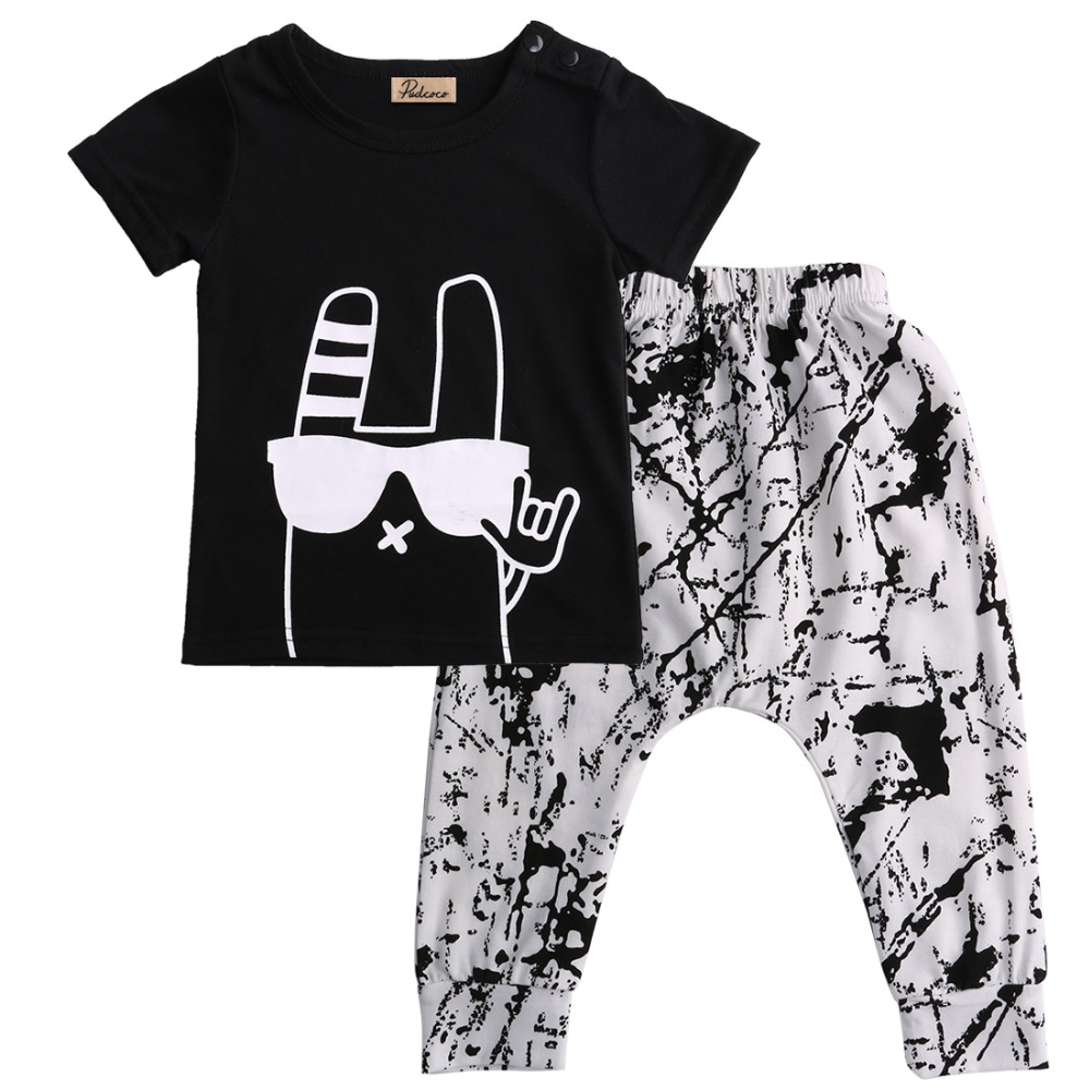Baby Boy Clothes 2016 Summer Kids Clothing Sets Printed T-Shirt+Pants Cotton Newborn Baby Summer Clothing 2pcs Suit baby boy clothes 2016 summer kids clothes sets t shirt pants suit clothing set glasses printed clothes newborn