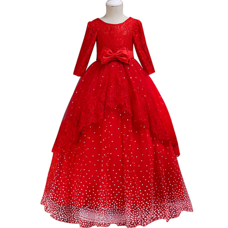 Girl big red ornate christmas dress High quality children's lace backless wedding princess dress Snowflake point romantic dress ornate printed pocket design dress