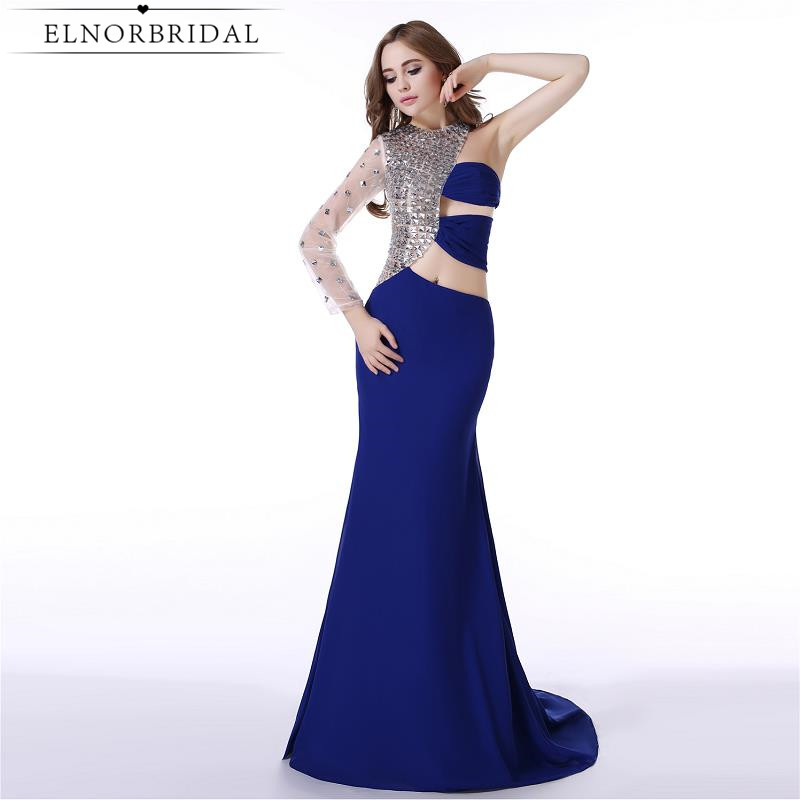 Royal Blue Prom Dresses For Masquerade 2017 Illusion One Shoulder Imported Party Dress Mermaid Robe Longue