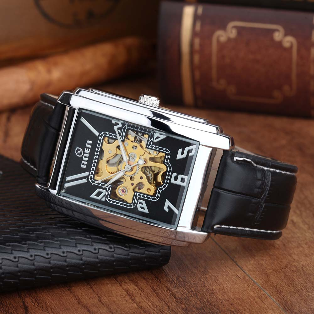 Relogio Masculino Luxury Brand GOER Rectangle Automatic Mechanical Watches Men Casual Business Skeleton Wrist Watch Leather BandRelogio Masculino Luxury Brand GOER Rectangle Automatic Mechanical Watches Men Casual Business Skeleton Wrist Watch Leather Band