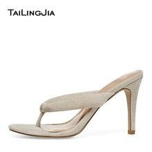 Trendy High Heel Mule Thong Sandals for Womens Black Heeled Flip Flops Beige Stiletto Heels Ladies Summer Shoes Large Size 2019