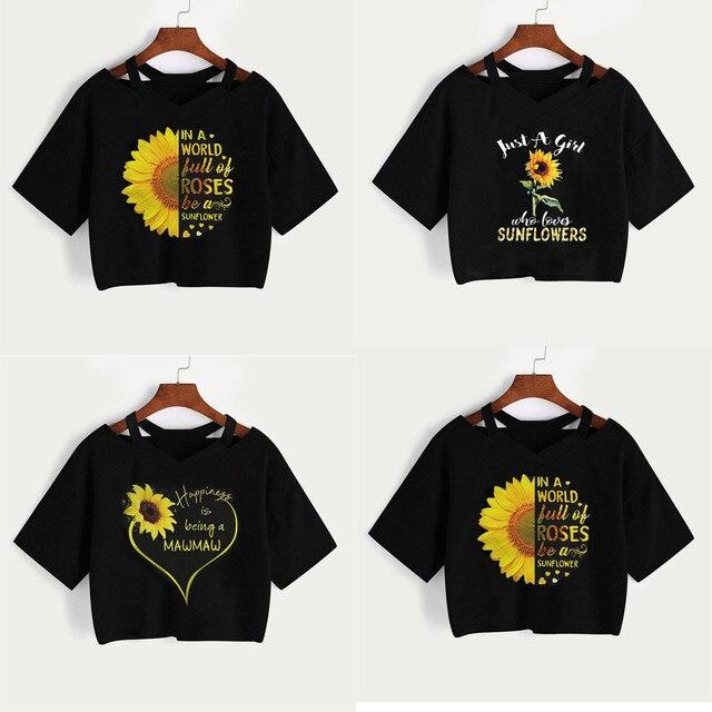 Fashion Women Sunflower Short Sleeve Casual T Shirt V Neck Vest Tops Short Sleeve Round graphic tees women women shirt 3